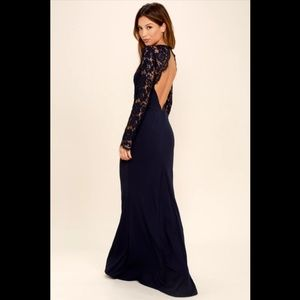 Lulu's Whenever You Call Navy Blue Lace Maxi Dress